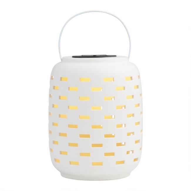 World Market White Dashes Ceramic Solar LED Lantern