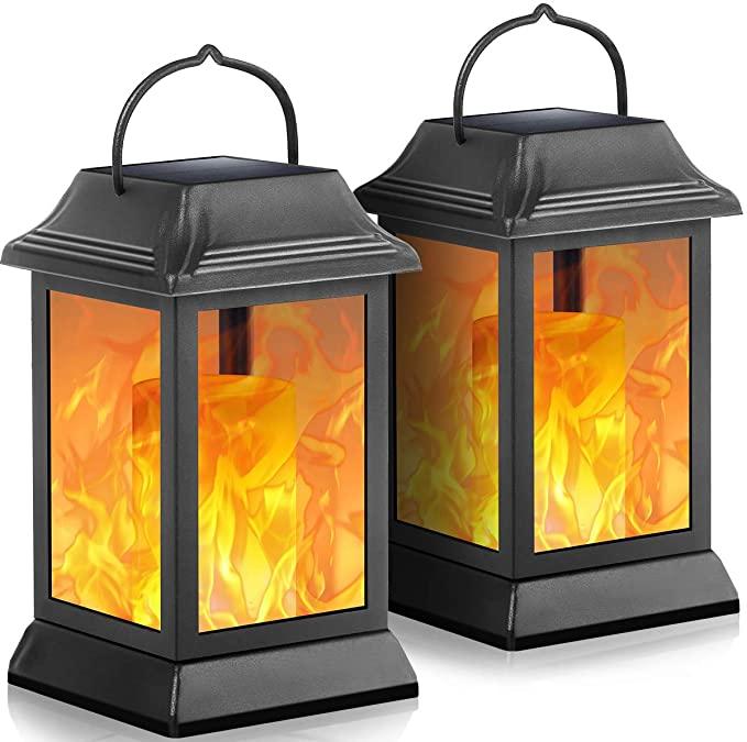 TomCare Flickering Flame Metal Hanging Solar Lights 2-Pack