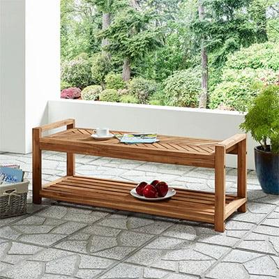 Ovolo Chevron Solid Acacia Wooden Storage Bench